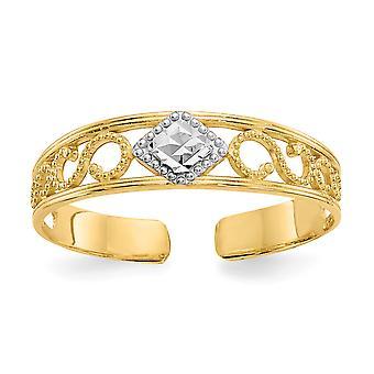 14 k Gelbgold solide strukturiert poliert und Rhodium funkeln geschnitten Zehen Ring Schmuck Geschenke für Frauen