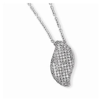 925 Sterling Silver Rhodium plated Lobster Claw Closure and CZ Cubic Zirconia Simulated Diamond Brilliant Embers Necklac