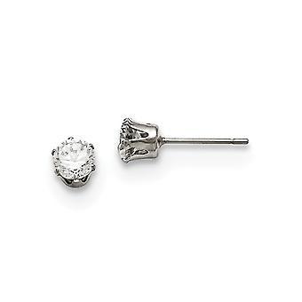 Stainless Steel Polished Post Earrings 5mm Cubic Zirconia Stud Earrings