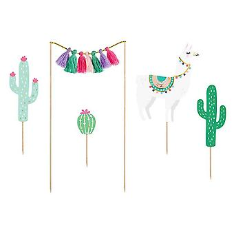 Llama and Cactus Cake Toppers Decoration Set
