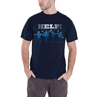 الشعار البيتلز T قميص تساعد فيلم الفرقة الرسمية رجالي زرقاء