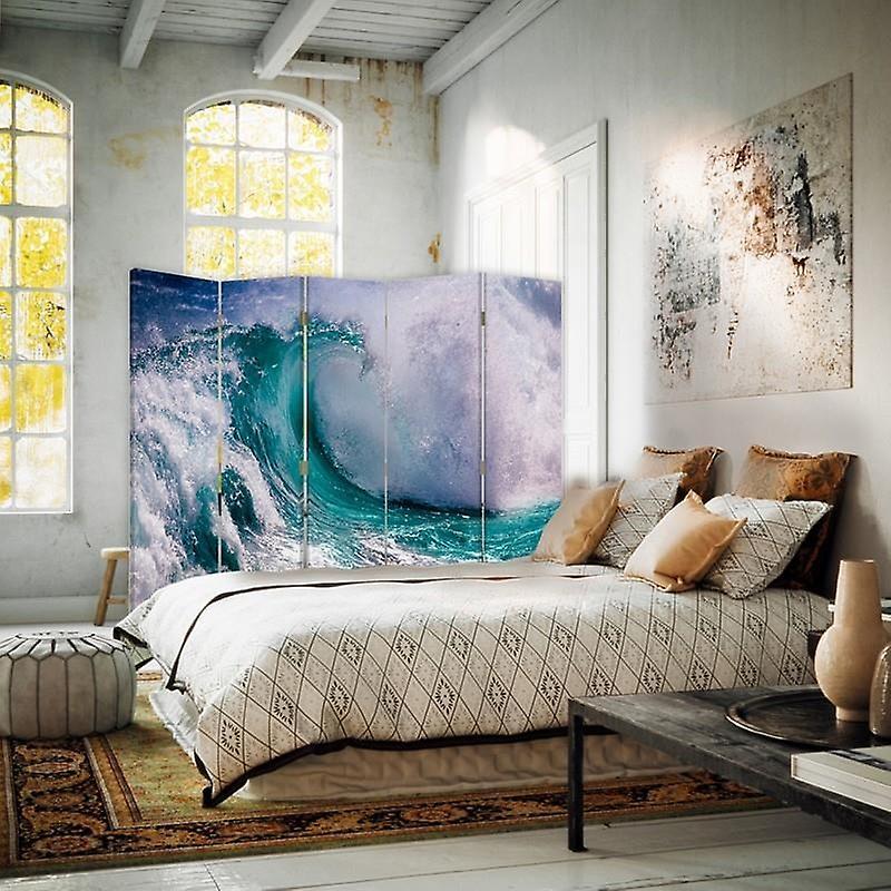 Diviseur de chambre, 5 panneaux, double-sided, 360 rotatable, toile, vague agitée