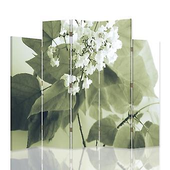 Divisor de habitación decorativa, 5 paneles, doble cara, 360o lienzo giratorio, flor blanca 2