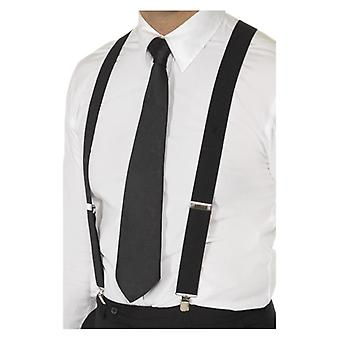 Tirantes elásticos negro, negro, con Metal mantenga Clip accesorio de disfraces