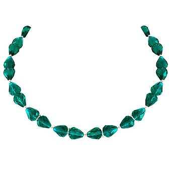 Eternal Collection Sophistication Teal Crystal Silver Tone Necklace