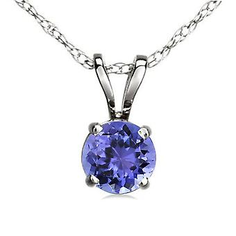 Dazzlingrock Collection 6 mm Round Cut Tanzanite Ladies Solitaire Pendant (Silver Chain Included), Sterling Silver