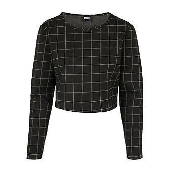 Urban Classics Women's Long Sleeve Shirt Check Cropped Crew