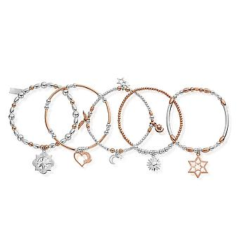 Chlobo Rose And Silver Inner Spirit Stack Of 5 MBSTA5IS