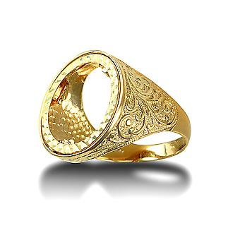 Jewelco London Men's Solid 9ct Yellow Gold Floral Engraved Half Sovereign Mount Ring