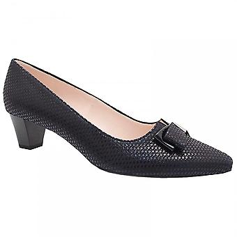 Peter Kaiser Navy Patent Low Heel Court Shoe With Bow