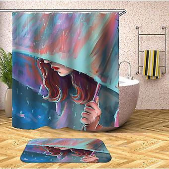 Art Painting Lady In The Rain Shower Curtain