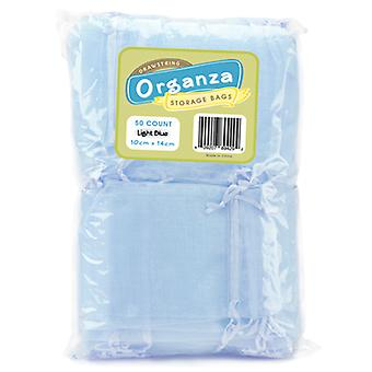 Lot of 50 Light Blue Drawstring Organza Storage Bags