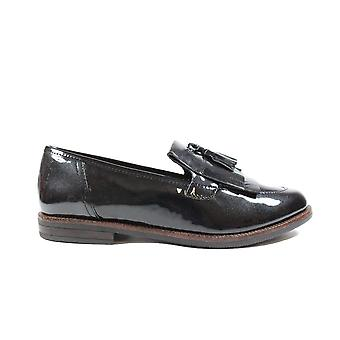 Caprice 24200 Black Patent Leather Womens Slip On Loafer Shoes