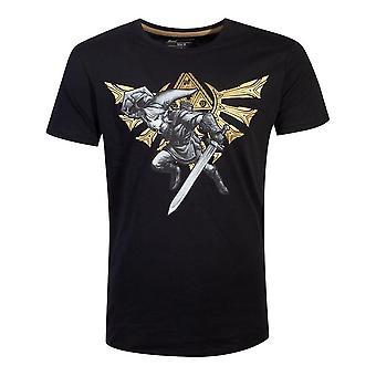 Legenden om Zelda Hyrule link T-skjorte mannlig liten svart (TS753648ZEL-S)
