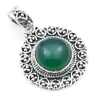 Amuleto de caneta corrente prata 925 Sterling Silver Green Onyx Green Stone (Não: MAH 104-14)