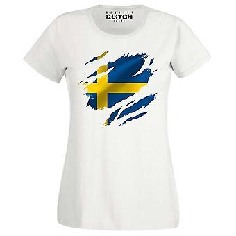 Realität Glitch gerissen Schweden Flagge Frauen T-shirt