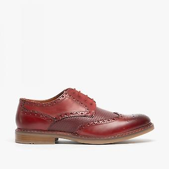 Roamers Sean Mens Leather Reptile Pattern Brogue Sapatos Red Tan
