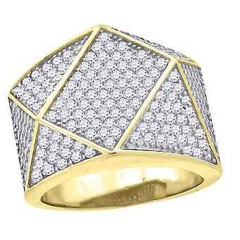 925 Sterling Silver Yellow tone CZ Cubic Zirconia Simulated Diamond Geometric Shape Mens Fashion Ring Jewelry Gifts for