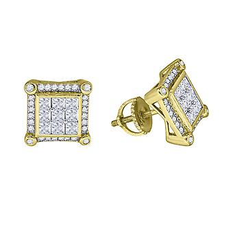 925 Sterling Silver Mens Yellow tone CZ Cubic Zirconia Simulated Diamond Princess Cut Square Stud Earrings Jewelry Gifts