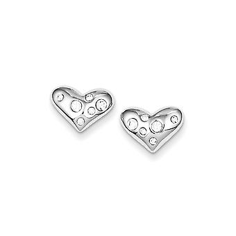 925 Sterling Silver Polished Rhodium plated Rhodium Plated CZ Cubic Zirconia Simulated Diamond Love Heart Post Earrings