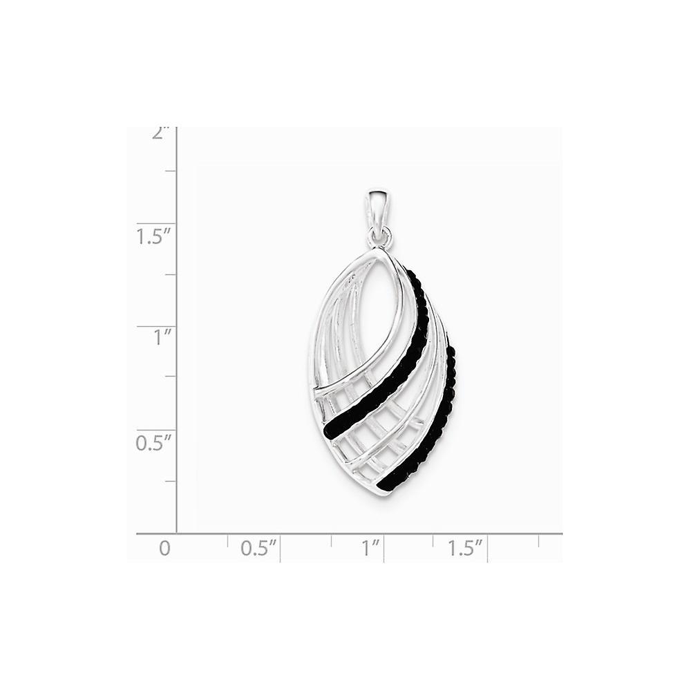 925 Sterling Silber schwarz Kristall Anhänger Halskette Schmuck Geschenke für Frauen