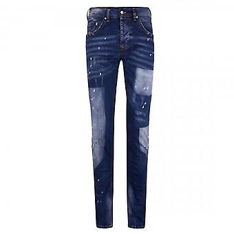 7th Hvn Distressed Blue Skinny Jeans With Bleach Marks 5433
