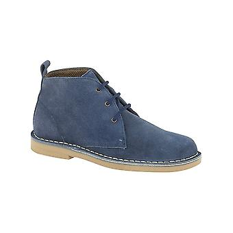 Roamers Blue Real Suede Ladies Desert Boot Lightweight Textile Lining Pvc Micro Sole