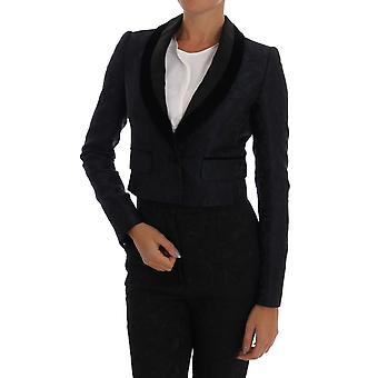 Dolce & Gabbana Blue Jacquard Short Blazer Jacket
