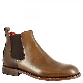 Leonardo Shoes Men's handmade fashion chelsea ankle boots in tan calf leather