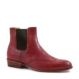 Women's brogue ankle boots handmade red leather