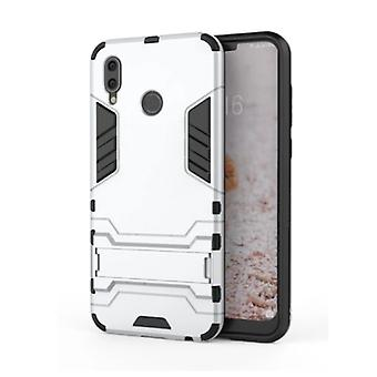 HATOLY iPhone XR - Robotic Armor Case Cover Cas TPU Case White + Kickstand