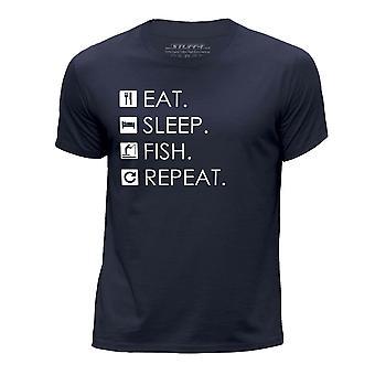 STUFF4 Boy's Round Neck T-Shirt/Eat Sleep Fish Repeat/Navy Blue