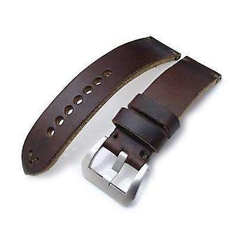 Strap strap de montre en cuir Strapcode 24mm miltat horween chromexcel bracelet de montre, brun mat, couture verte militaire