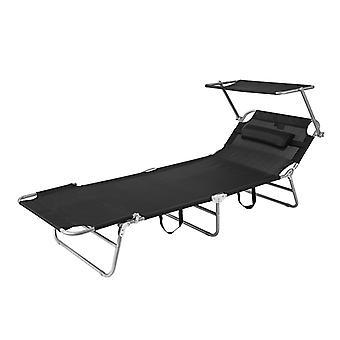 SoBuy OGS48-SCH, Beach Folding Chair Sun Lounger with Adjustable Sun Shade and Backrest