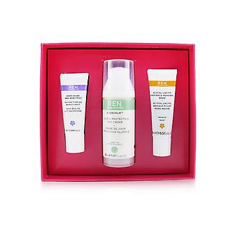 Ren Face Favoriter Set: Glykol latic mask 15ml + Evercalm Day Cream 50ml + Håll Young & Vacker skönhet Shot 10ml - 3st
