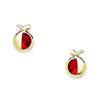 14k Geel Goud Rood CZ Kubieke Zirconia Gesimuleerde Diamond Apple Schroef terug Oorbellen maatregelen 7x5mm sieraden geschenken voor vrouwen