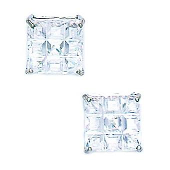 14k White Gold 8x8mm 9 Segment Square CZ Cubic Zirconia Simulated Diamond Basket Set Earrings Jewelry Gifts for Women
