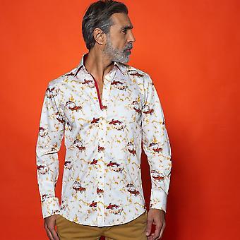 CLAUDIO LUGLI Koi Fisch In Marmor Brunnen Shirt