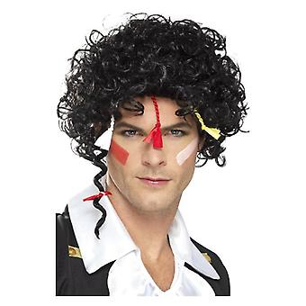 años 80 peluca romántica, accesorio de disfraz negro
