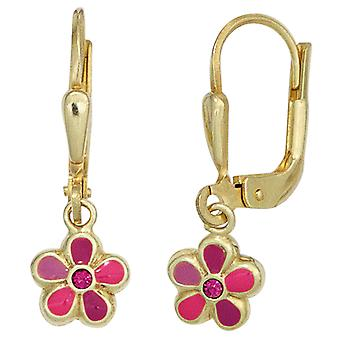 Kids Boutons Flower Red 333 Gold Yellow Gold Earrings Earrings Kids Earrings