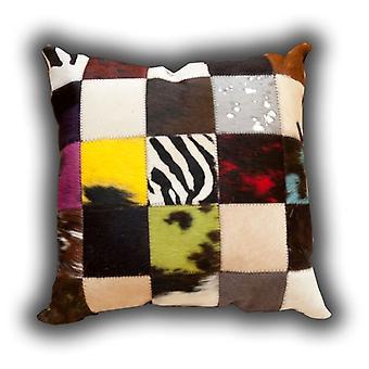 Teppiche-Leder-Patchwork Multi farbige Kissen