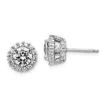 925 Sterling Silver Rhodium plated CZ Cubic Zirconia Simulated Diamond Round Post Earrings Jewelry Gifts for Women