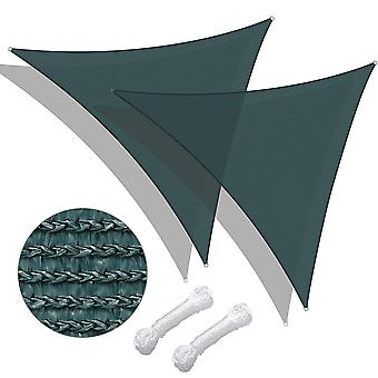 Yescom 20Ft 95% UV Block Triangle Sun Shade Sail Canopy Outdoor Patio Pool Porch Yard Beach Carport Cover Net, Pack of 2
