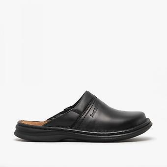 Josef Seibel Max Mens Leather Mule Clogs Black