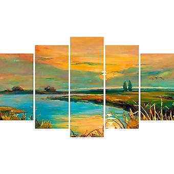 Malerei See 1 Mehrfarbige Holzfarbe, Polyester 20x3x40 cm,20x3x50 cm,20x3x60 cm