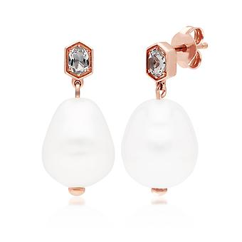 Modern Baroque Pearl & White Topaz Drop Earrings in Rose Gold Plated Sterling Silver 270E030510925