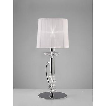 Table Lamp Tiffany 1 + 1 Bulb E14 + G9, Polished Chrome With White Lampshade & Clear Crystal