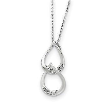 925 Sterling Zilver gepolijst Gift Boxed Spring Ring Rhodium verguld CZ Cubic Zirconia Gesimuleerde Diamanten Ketting 18 Inch