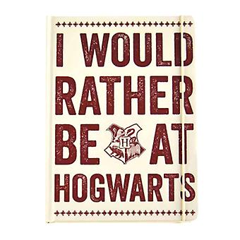 Harry Potter Notebook rather be at Hogwarts Slogan Official A5 lined hardback