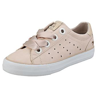 Mustang Skill Laced Sneaker Womens Casual Trainers in Apricot
